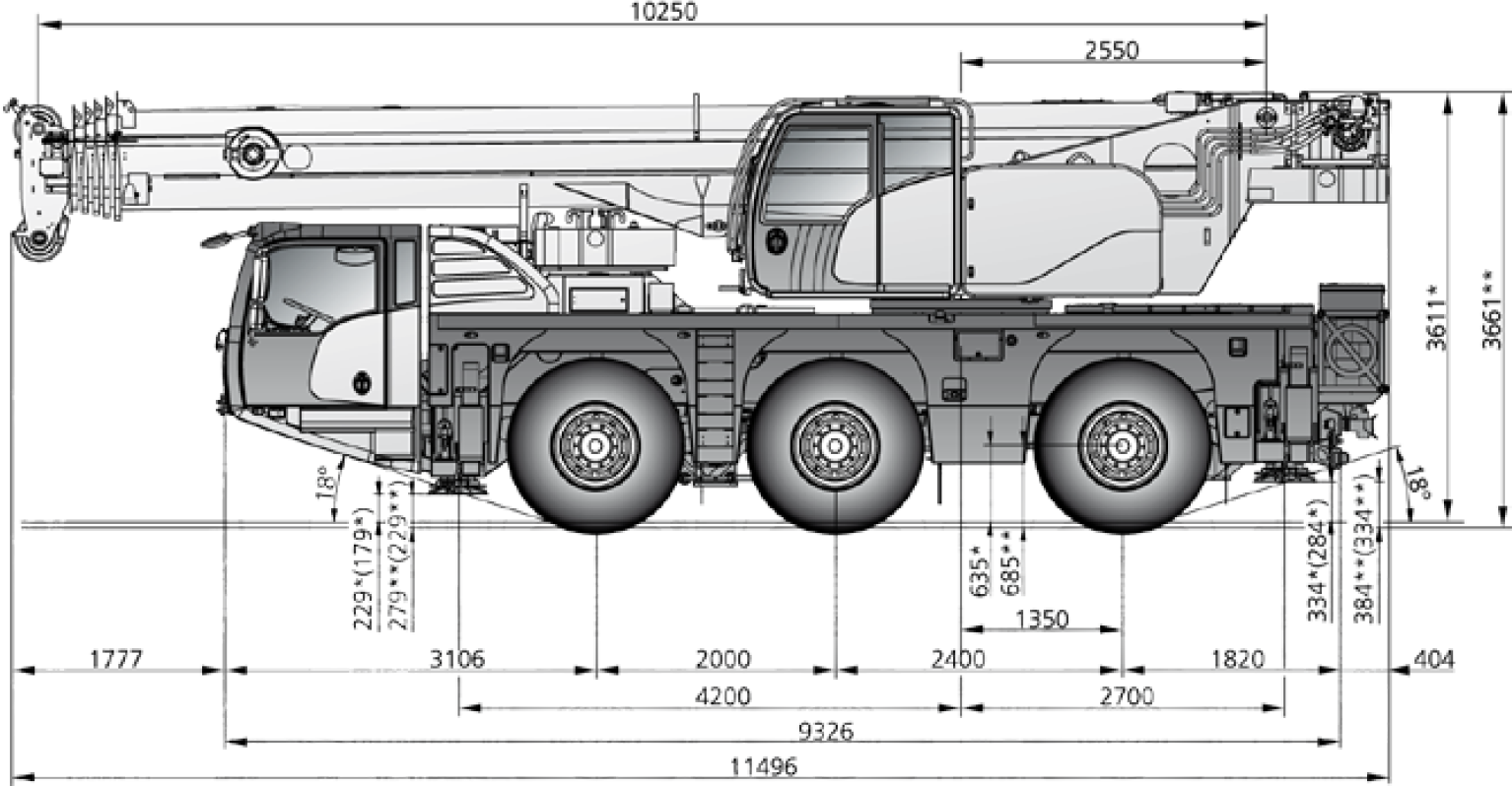 55 ton crane hire Dimensions Diagram