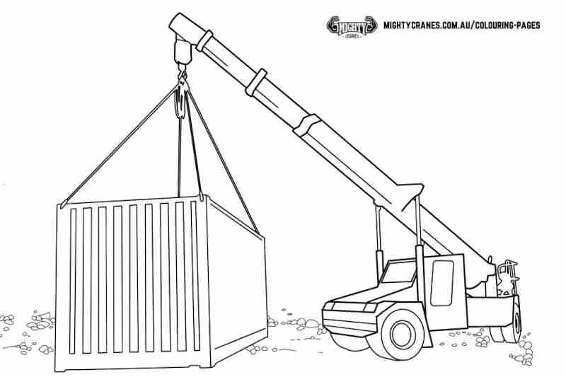 Free Kids Colouring Page Franna Mobile Crane AT20 Download